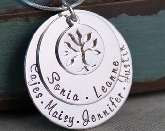 Grandma Necklace / Mommy Necklace / Personalized Hand Stamped Jewelry / Medium Generations Family Necklace (up to 8 names)