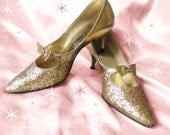 Vintage Gold High Heel Pumps - Early 60s Gold Glitter Dream Step - 7M
