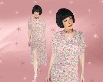Plus Size Vintage Midi Dress - 70s Floral - 30s Style