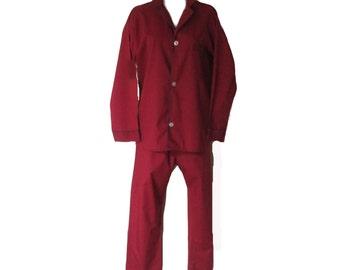 Men's Vintage Pajama Set - MacGregor Burgundy Cotton Poly PJ's for Men - Medium