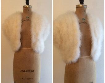 Vintage 1970s 1980s Maribou Vest 70s 80s Ostrich Feather White Vest