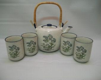Vintage Japanese Teapot Set, Teapot and 4 Tea cups, Colbalt Blue and Greens, Teapot Set, Wicker Handle, Tea Time, Ceramic Teapot Set,
