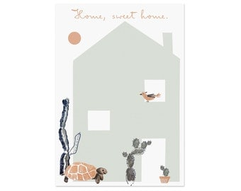 2 home, sweet home postcards with turtle