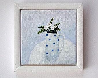 Original framed mini still life painting, 'Pulmonaria', modern style flower painting, minimalist art