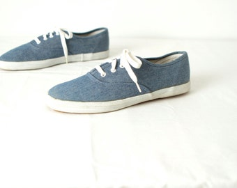 size 8 WOMENS oxford blue DENIM nautical style flat BOAT deck shoes