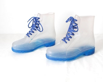 CLEAR BOOTS vintage women's size 10 club kid raver BLUE sole grunge rain boots duck booties