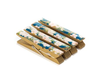 Moonlight Garden Japanese Chiyogami Yuzen Washi Clothespin Magnets - Set of 4 SKU# RCM - 1025