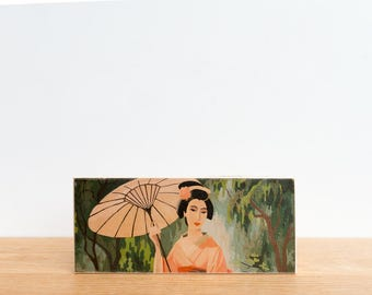 Paint by Number Art Block 'Parasol Geisha' Horizontal - asian art, japan, geisha, japanese geisha, vintage art