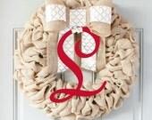 Valentines Wreath, Monogram Wreath, Personalized Door Wreath, Bedroom Door, Last Name Decor, Burlap Wreaths for the Door Interchangeable Bow
