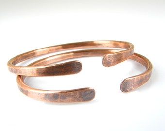 Mens Hammered Copper Wire Bracelet, Rustic Antiqued Copper Bracelet, 6 Gauge Copper Cuff, Made To Order