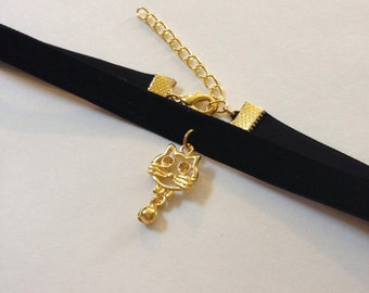 Black Velvet Choker with Cat Charm
