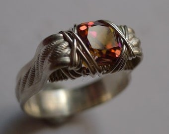 Faceted Mystic Topaz Gemstone set in Silver Wire Wrapped Ring, sz. 7.5
