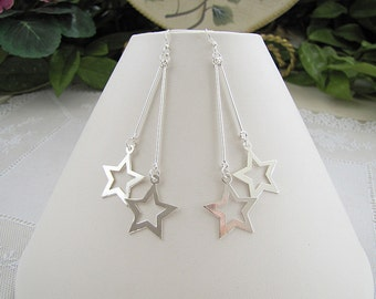 Star Sterling Silver long dangle Earrings