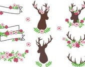 Deer Silhouettes, antlers, antlers with leaves and flowers, BIG monogramming set - Machine embroidery designs 4x4 and 5x7  INSTANT DOWNLOAD