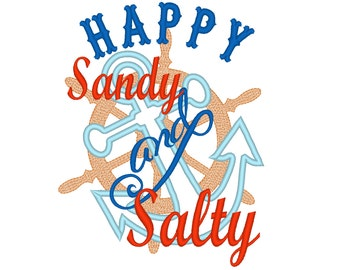 Happy, Sandy and salty - nautical summer embroidery - machine embroidery applique designs 4x4, 5x7 and 6x10