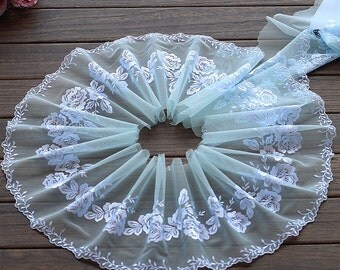 2 Yards Lace Trim Floral Embroidered Cyan Tulle Lace 7 Inches Wide High Quality