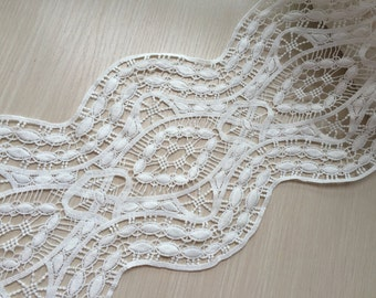 Cream White Lace Trim Super Wide Floral Embroidered Scalloped Lace Trim 8.66 Inches Wide 1 yard