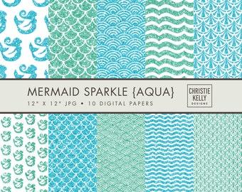 Mermaid Digital Paper Pack // Deco Scrapbook Paper // Mermaid Digital Paper // Aqua Scallop Digital Paper // Blue Sparkle Modern Scrapbook
