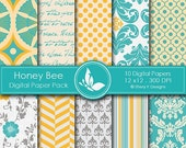 50% off Honey Bee Paper Pack - 10 Digital papers - 12 x12 - 300 DPI