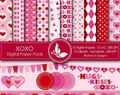 50% off XOXO Paper Pack - 10 Printable Digital papers - 12 x12 - 300 DPI