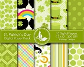 50% off St. Patrick's Day Paper Pack - 10 printable Digital Scrapbooking papers - 12 x12 - 300 DPI