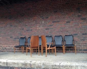 Set of 8 Lane Dining Chairs Mid-Century Modern