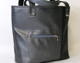 Vegan Carry All Tote Bag Lottie. Purse, Shoulder bag in Gray and Black. Large vegan tote. Commuter Bag.