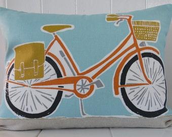 Bicycle print cushion complete cushion inc cushion pad ( harlequin scion cykel)