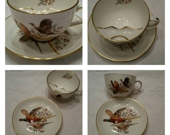 Hammersley Mustache Cup & Saucer Featuring Two Hand Painted Pheasants circa 1939-1952    DSC