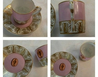 Hand Painted Limoges Demi Cup & Saucer Decorated By The Atelier Camille Le Tallec In Paris  circa 1960   DSC