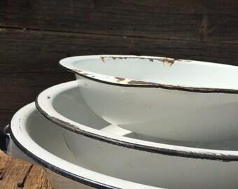 Nesting Enamel Bowls, Set of 3, Metal Nesting Bowls, Tin Tableware