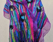 Beautiful scarfl, felted scarf, silk, wool, nuno, felted, gift, fibre art, green, pink, purple, black, blue, yellow