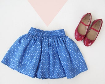 Girl Satin Skirt, Baby and Toddler Circle Skirts, Blue Stars Skirts, Twirling Skirt for little girls, Summer skirts