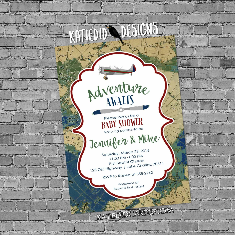 Adventure Awaits Baby Shower Invitation Vintage Airplane Map Plane Birthday Shabby Chic Burlap Sip See Maroon 12124b Diaper World Couples