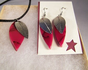 Red Necklace Earrings SHIPS IMMEDIATELY Handmade Red and Black Gift Set