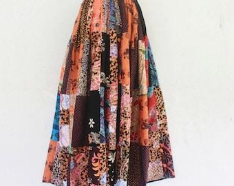 Hand made Thai batik sarong elastic waist patchwork skirt,boho skirt,wrap skrit,sarong,batik,simple wear,comfortable wear