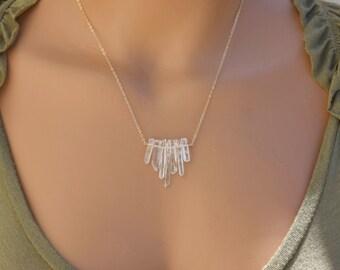 Raw Quartz Necklace / Bar Necklace, Gold Filled Necklace, Crystal Necklace, Pendant Necklace, Raw Crystal Quartz