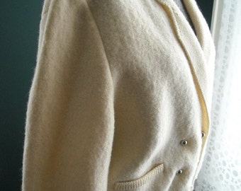 Sweater Jacket Dean's of Scotland Cream Wool Double Breasted Silver Buttons Medium to Large