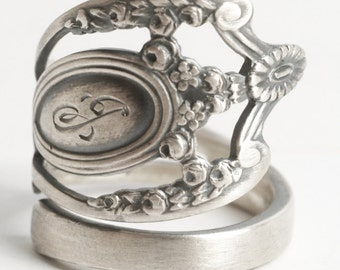 Silver Floral Victorian Ring, Lunt Monticello, Sterling Silver Spoon Ring, Engraved G / J, Handmade Gift for Her, Adjustable Ring Size, 6149