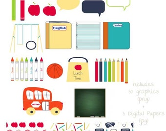 Back to School digital Clipart and Papers