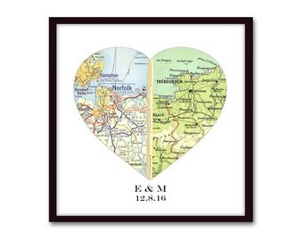 Personalized Wedding Map Gift for Couples, Unique Wedding Gift, Map Art, Engagement Gift, Wedding Present, Heart Map Print