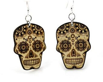 Skull - Sugar Skull - Day Of The Dead - Wood Earrings