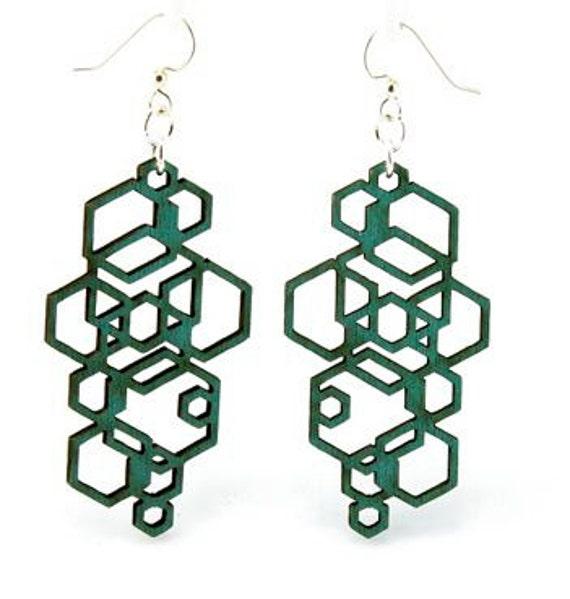 Hexagon Cluster - Wood Earrings
