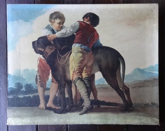 Vintage French Print of boys with large dog on canvas circa 1940-50's / English Shop
