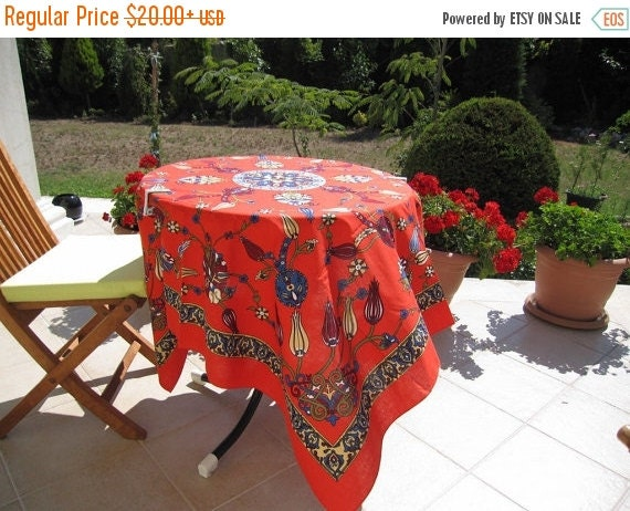 sale Red floral tablecloth - summer fashion Beach-themed apparel, home decor- Picnic Park -Beach cloth - Camp cloth Turkish -summer fashion