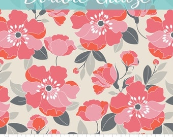 The Beach House Double Gauze Coral Floral by Jackie for Camelot Fabrics