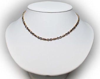 "Lovely Yellow & White 14K Gold 17"" Link Necklace"