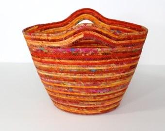 Coiled Clothesline Tote  Rope Basket in Shades of Orange  Quilted Fiber Art  Market Basket