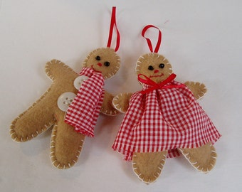 Embroidered Felt Gingerbread Man and Woman Ornaments