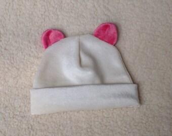 Organic Bamboo Velour 0-3 month Baby Pink Panda Bear Beanie Hat